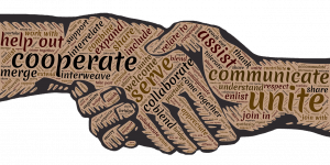 Image: Handshake word cloud - cooperate, serve, communicate, unite, and more