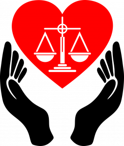 Image of two hands surrounding a heart with the scales of justice in the center
