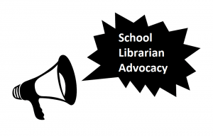 Megaphone with School Librarian Advocacy Text