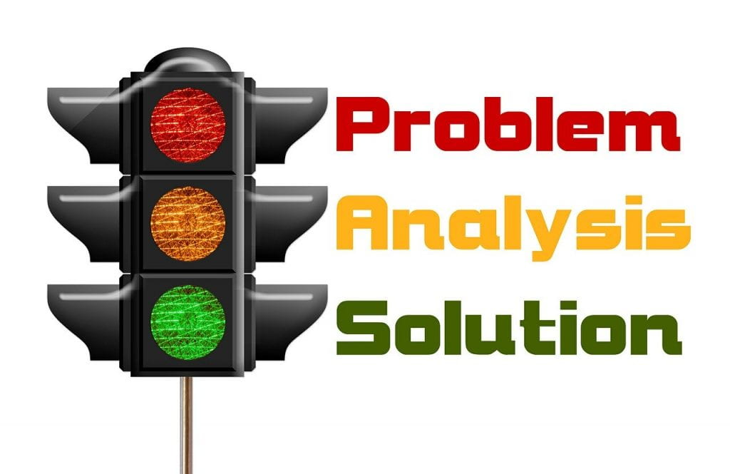 Image shows a traffic light: red (problem), yellow (analysis), green (solution)