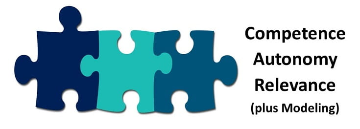 Image of 3 interlock puzzle pieces and the words competence, autonomy, and relevance (plus modeling)
