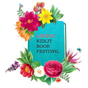 Latinx Kidlit Book Festival Logo: Book with Flowers