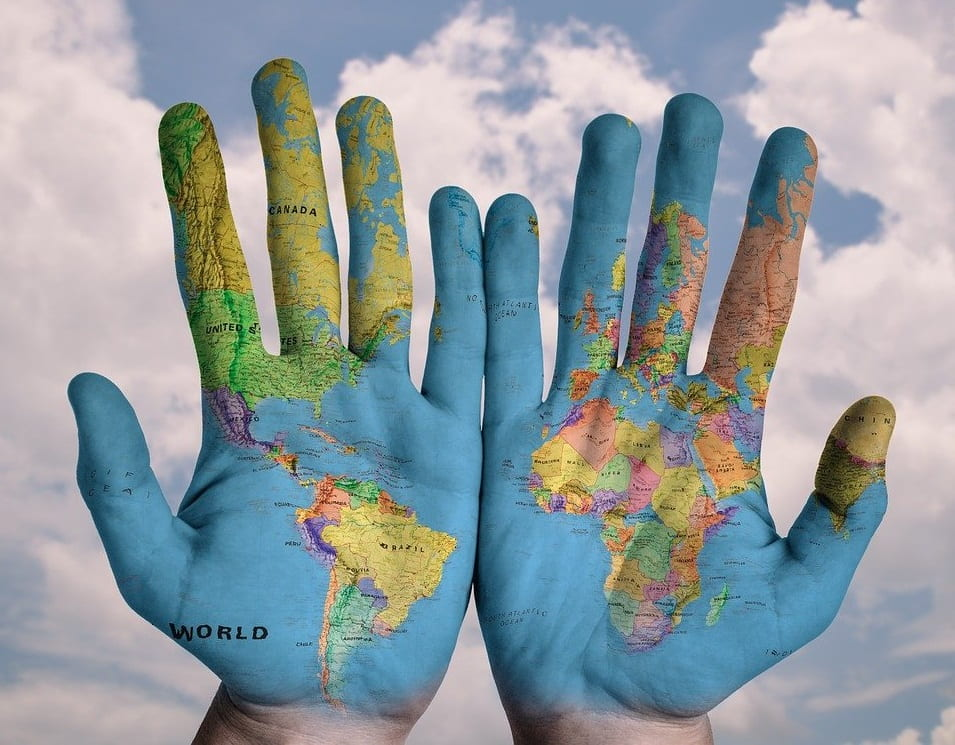 Image of Global Map imprinted to two hand palms