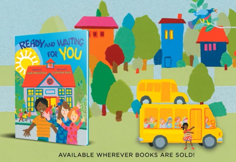 Ready and Waiting for You Book Jacket and School Buses in a Neighborhood illustration by Catherine Stock