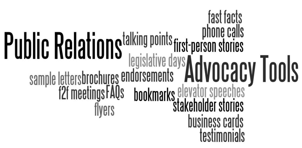 Advocacy and Public Relations Word Cloud