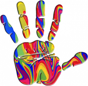 A Hand Print with Rainbow Colors