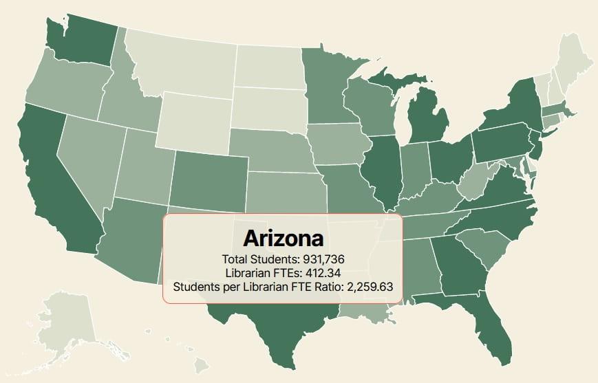 Arizona: Total Students, Librarian FTEs, Students per Librarian